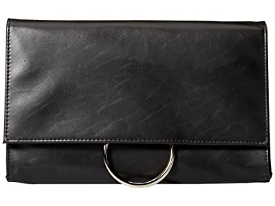 Jessica McClintock Nora Ring Flap Clutch (Black) Clutch Handbags