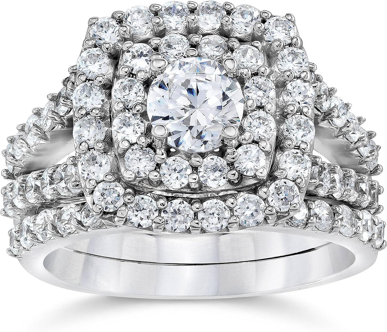 2 cttw Diamond Selling Cushion Long-awaited Double Halo 1 Ring Wedding Set Engagement