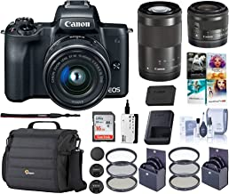$879 Get Canon EOS M50 Mirrorless Camera with EF-M 15-45mm f/3.5-6.3 and EF-M 55-200mm f/4.5-6.3 is STM Lenses, Black - Bundle with 16GB SDHC Card, Camera Case, 49mm/52mm Filter Kits, Cleaning Kit, and More