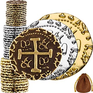 Sponsored Ad - Pirate Coins - 36 Bronze, Silver & Gold Treasure Coin Set, Metal Replica Spanish Doubloons for Board Games,...