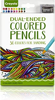 Crayola Dual-Ended Colored Pencils, 36 Colors + Bonus Sharpener Premium Art Tools, Compact Colored Pencil Set for Adult Coloring Books or Kids 4 & Up, Great for Shading, Gradation, Line Art & More