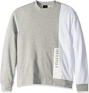 A X Armani Exchange Men's Long-Sleeve Crew Neck Sweatshirt, Bros BC05/White, M