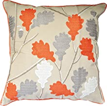 HOMETALE® Leaves Special Chain Embroidery with Pipings Decorative Throw Pillow COVER 18 Orange Grey Beige