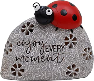 TERESA'S COLLECTIONS 5.1 Inch Ladybug On Stone Garden Statues, Enjoy Every Moment Fairy Garden Figurine with Solar Powered...