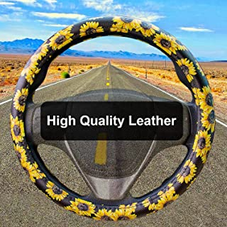 Leather Sunflower Steering Wheel Cover Cute and Handmade,Fashionable Boho Universal Steering Wheel Cover 15 inch,Top Girl Sunflower Car Accessories for Women(Sunflower,Leather)