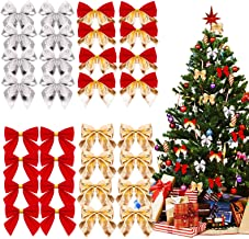 20 Pcs Christmas Tree Decorations Christmas Ribbon Bows With Iron Bells For Z1O7