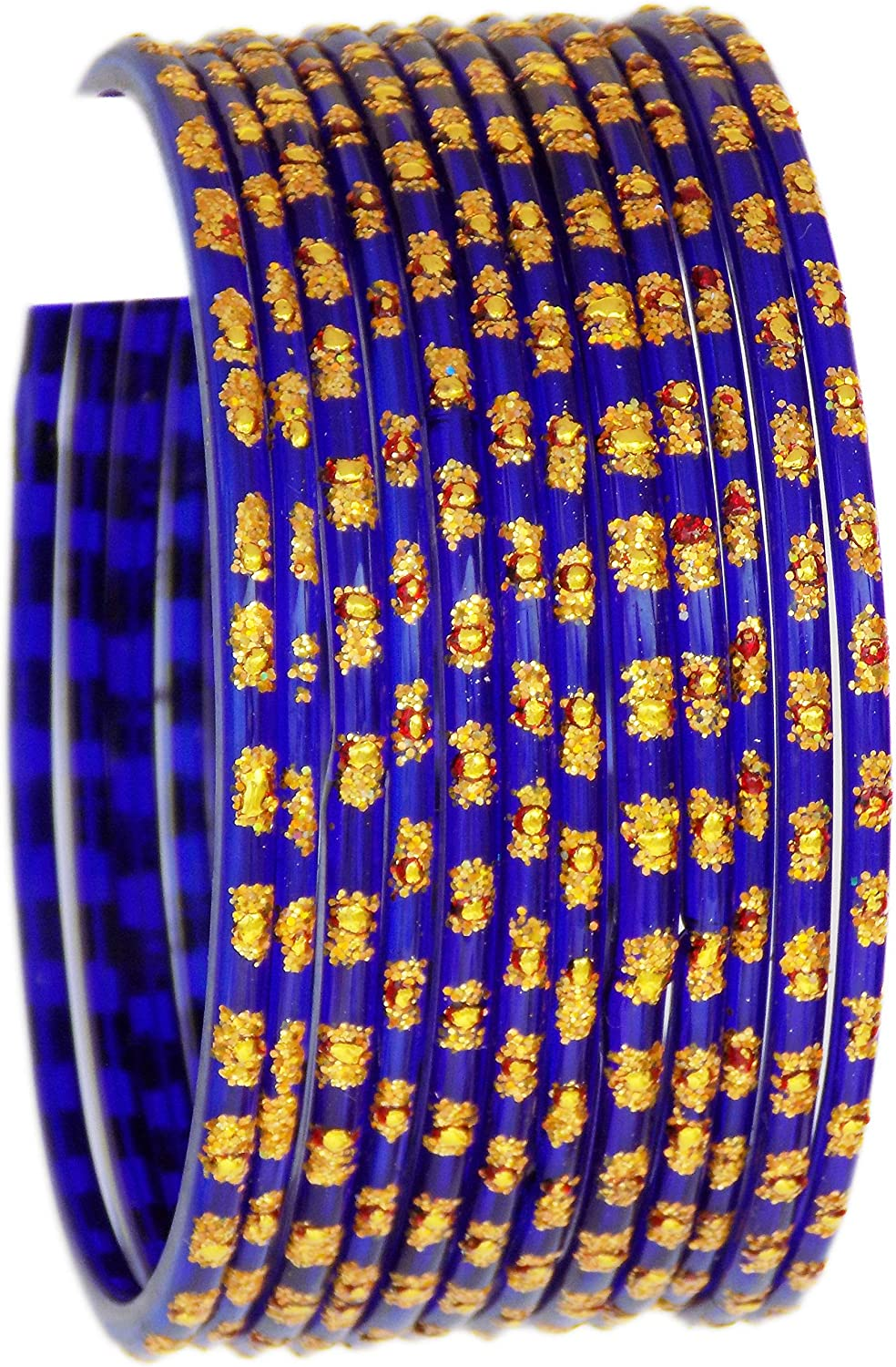 JD'Z COLLECTION Glass Bangles for Women & Girls Indian Traditional Jewelry Glass Bangles Set Set for Ethnic Daily Wear, Bridal Bangles for Indian Marriage (Set of 12) - Blue