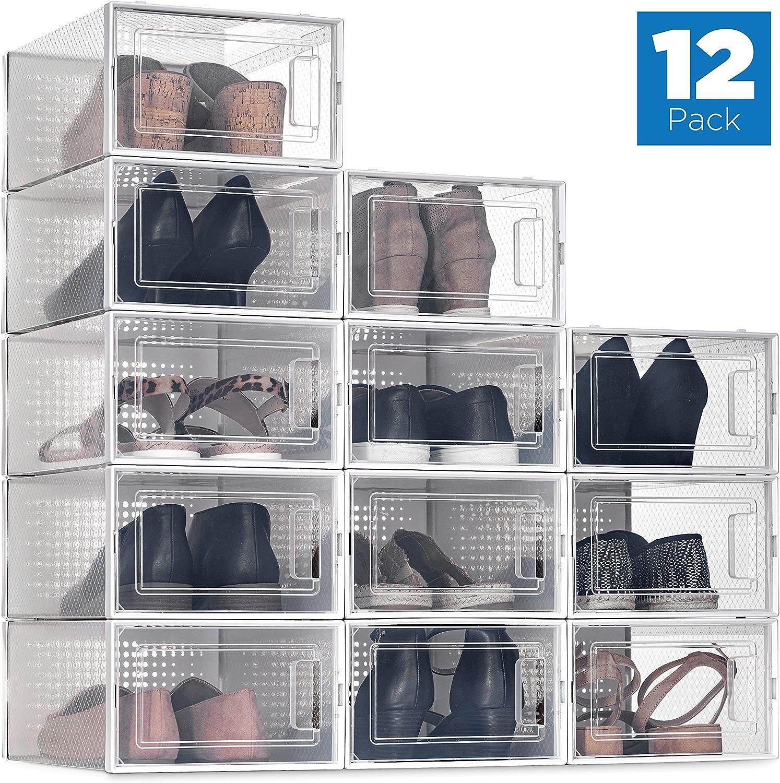 Amazon.com SESENO. 20 Pack Shoe Storage Boxes, Clear Plastic ...