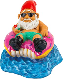 BigMouth Inc Donut Worry Be Happy Garden Gnome, 7-inch Tall Funny Lawn Gnome Statue, Garden Donut Decoration
