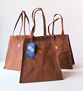 Love Triangles Collection Set of 3 Anti-Plastic Grocery Bags Jute CHOCOLATE Natural Reusable Gift Planters