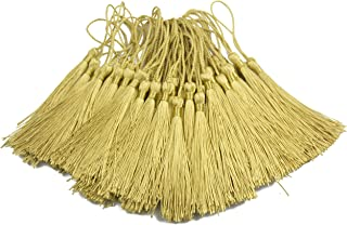 100pcs 13cm/5 Inch Silky Floss Bookmark Tassels with 2-Inch Cord Loop and Small Chinese Knot for Jewelry Making, Souvenir, Bookmarks, DIY Craft Accessory (Light Gold)