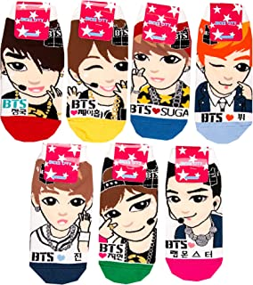 Womens Kpop BTS TXT Cartoon Socks (White-BTS-7)