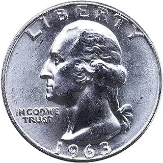 1963 D U.S. Washington Quarter 90% Silver Coin, 1/4 Brilliant Uncirculated Mint State Condition