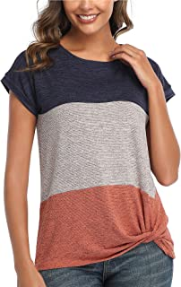 Womens Casual Round Neck Triple Color Block T Shirts