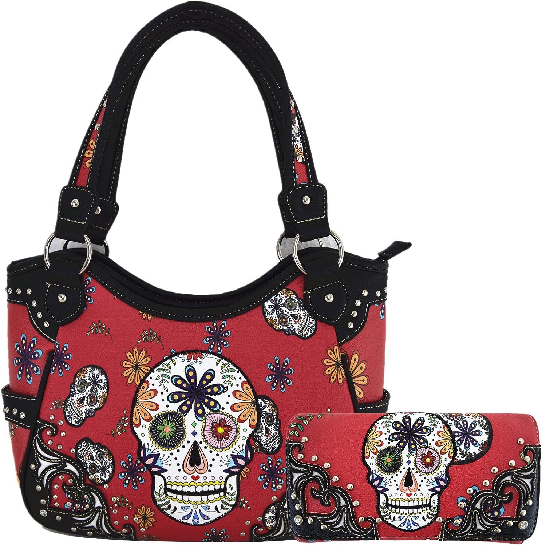 Day of The Dead Sugar Skull Purse Western Concealed Carry Handbag Shoulder Bag Cross Body Wallet Set Red