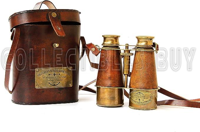 Steampunk Accessories | Goggles, Gears, Glasses, Guns, Mask Antique Victorian Marine Brass Leather Binocular Sailor Instrument London 1915 (Orange)  AT vintagedancer.com