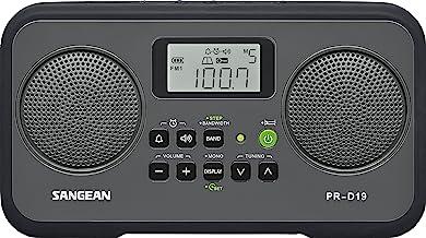 Sangean PR-D19BK FM Stereo/AM Digital Tuning Portable Radio with Protective Bumper (Gray/Black)