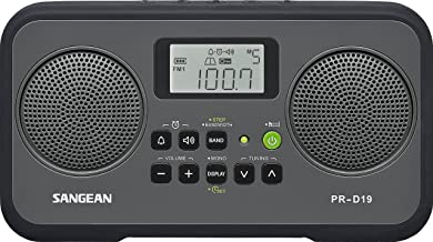 Sangean PR-D19BK FM Stereo/AM Digital Tuning Portable Radio with Protective Bumper (Gray/Black)