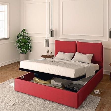 Baldiflex Lit double avec coffre modèle Licia en tissu, sommier à lattes, pour matelas double 160 x 190 cm, tête de lit finement rembourrée, couleur Cranberry