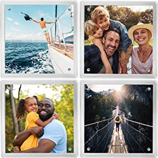 Coastix - Personalized Photo Coasters for Drinks (4 Pack) - 4x4 Square Picture Frame Coaster Set - Magnetic and Shatterproof - Acrylic Glass Display for Art Prints, Comics, Pressed Flowers - H.