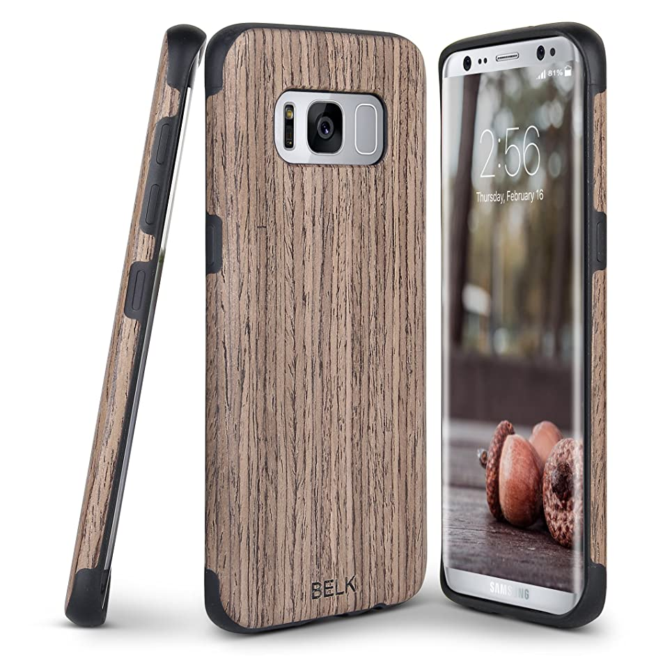 Galaxy S8 Case, B BELK [Slim to Beat] Soft Wood Air Cushion Premium Rubber Bumper [Thin Light] Flexible TPU Back Cover, Shock Resistant Wooden Armor for Samsung Galaxy S8-5.8 inch, Walnut