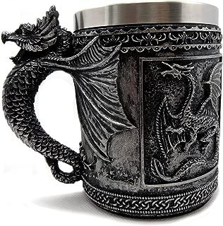 GOT Style Dragon Mug Beer Tankard, Stainless Steel, 3D Resin