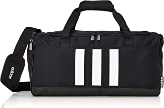 adidas Unisex 3-Stripes Small Duffel Bag, Black/White