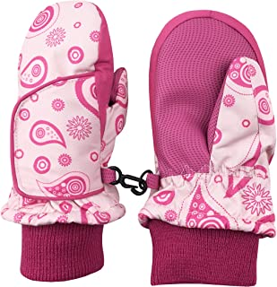 N`Ice Caps Kids and Baby Easy-On Wrap Waterproof Thinsulate Winter Snow Mitten (Paisley Print, 2-3 Years)