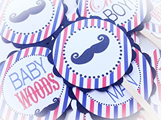 12 Cupcake Toppers - Barbershop Baby Shower Collection - Red & Blue Stripes with Black Accents and Mustache Graphics