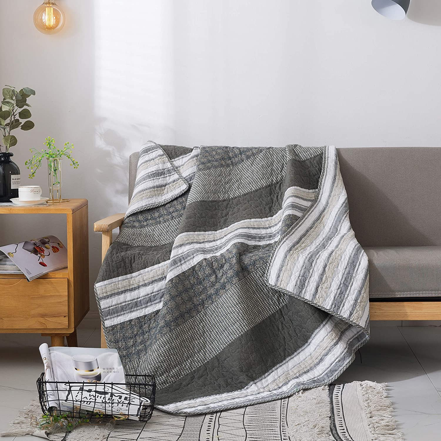 Soul & Lane Madrona Cotton Patchwork Bedding Quilted Throw - 50
