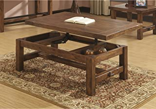 Emerald Home Chambers Creek Brown Coffee Table with Lift Top Storage, Plank Style Top, And Straight Timber Legs