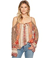 Angie - Cold Shoulder Print Top