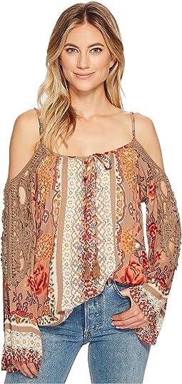 Cold Shoulder Print Crochet Top