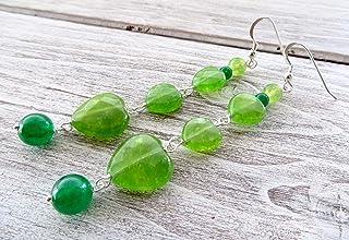 Orecchini con cuori di giada verde e argento 925, pendenti lunghi, gioielli contemporanei, bijoux fatti a mano, regalo per...