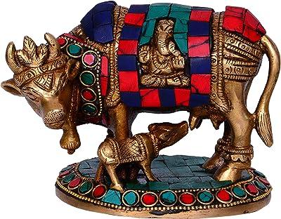Purpledip Beautiful Brass Kamdhenu Cow and Calf with Stonework (10448)