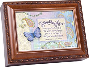 Cottage Garden Granddaughter Stole Our Hearts Woodgrain Rope Trim Jewelry Music Box Plays Friend in Jesus