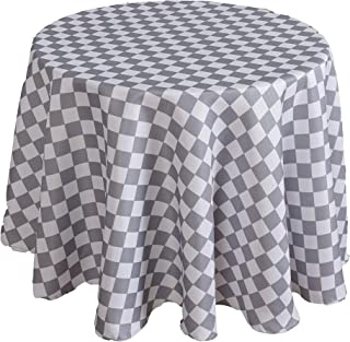 Biscaynebay Printed Checkered Fabric Table Cloth, Water Resistant Spill Proof Tablecloths for Dining, Kitchen, Wedding and Parties, Silver Grey 70 Inch Round
