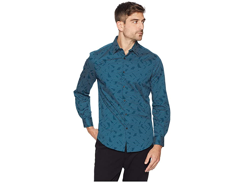 Perry Ellis Total Stretch Stripe Abstract Pattern Shirt (Legion Blue) Men's Long Sleeve Button Up