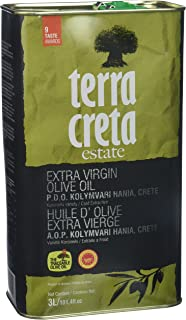 Terra Creta Estate Greek Extra Virgin Olive Oil PDO Kolymvari, 3LT, Single Variety, Koroneiki, 3l