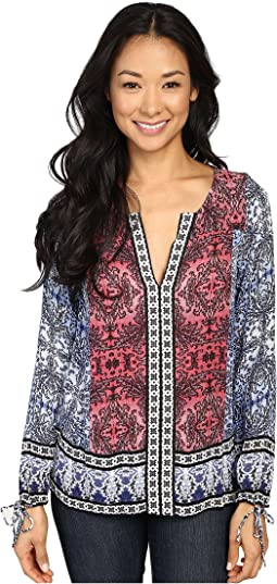 Long Sleeve Top with Border Print