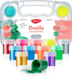 DACO Kids Paint Set Duella, 12 Neon and Metallic Colors Gouache Paint 0.7 fl.oz (20ml), with Travel and Storage Box, Washable Paint for Kids, Beginners, School Paint Supplies, Finger Paint