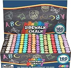 160 PCS Washable Sidewalk Chalks Set Non-Toxic Jumbo Chalk for Outdoor Art Play, Painting on Chalkboard, Blackboard and Playground