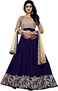 Ethnic Empire Banglory Silk ANd Net Women's Long Semi Stitched Anarkali Salwar Suits(Ethnic_ER108_Free Size) (Blue)