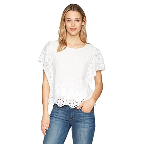aac47d41c26f32 Lucky Brand Women s White Eyelet Top