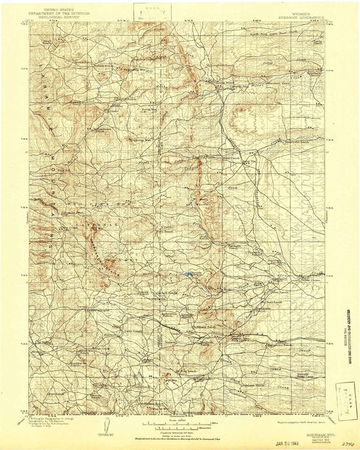 Sherman WY topo map, 1 125000 Scale, 30 X 30 Minute, Historical, 1905, Updated 1943, 20.2 x 16.1 in