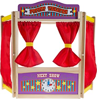 Wooden Tabletop Puppet Theater with Curtains, Blackboard, and Clock- Inspires Imagination and Creativity for Kids, Boys an...