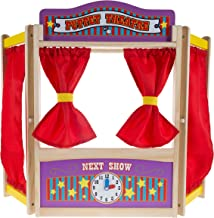 Hey! Play! Wooden Tabletop Puppet Theater with Curtains, Blackboard, and Clock- Inspires Imagination and Creativity for Kids, Boys and Girls