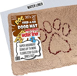 iPrimio XL Extra Thick Micro Fiber Pet and Dog Door Mat - Super Absorbent. Includes Water Proof Liner - Size 36