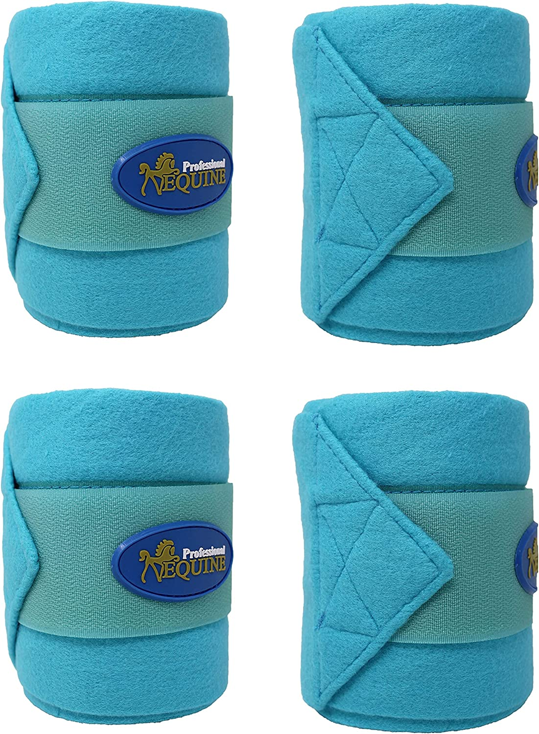 CHALLENGER Horse Tack Grooming Leg Set of 4 Fleece Polo Wrap Turquoise 95R15: Sports & Outdoors