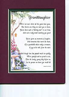 Gift Poem 13th 16th 18th 21st 30th Birthday Present For A Granddaughter #43,